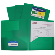 C-Line Products Two-Pocket Heavyweight Poly Portfolio Folder, Green - Pkg Qty 18