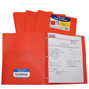 C-Line Products Two-Pocket Heavyweight Poly Portfolio Folder with Prongs, Orange - Pkg Qty 12