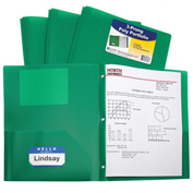 C-Line Products Two-Pocket Heavyweight Poly Portfolio Folder with Prongs, Green - Pkg Qty 12