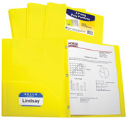 C-Line Products Two-Pocket Heavyweight Poly Portfolio Folder with Prongs, Yellow - Pkg Qty 12