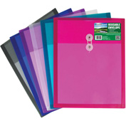 C-Line Products Bio Reusable Poly Envelope with String Closure, Top Load, Assorted - Pkg Qty 24