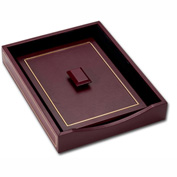 DACASSO® Burgundy Leather 24KtGold Tooled Letter Tray w/Lid