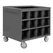 "Durham 663-95 34""W x 24""D Two Sided Cart - 24 Compartments, Gray"