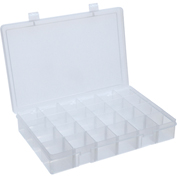 Durham Large Plastic Compartment Box LPADJ-CLEAR - Adjustable with 20 Dividers, 13-1/8x9x2-5/16 - Pkg Qty 5