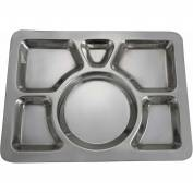 """Winco SMT-1 6 Compartment Mess Tray, 15-1/2""""L, 11-1/2""""W, Stainless Steel, Rectangular, Style A - Pkg Qty 24"""