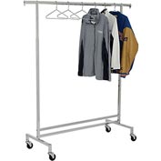Single Hangrail Rolling Clothes Rack (K43) - Heavy Duty Square Tubing - Chrome