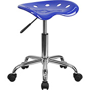 Flash Furniture Desk Stool - Backless - Plastic - Blue