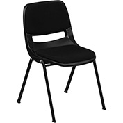 Flash Furniture Ergonomic Shell Stack Chair - Plastic - Padded Seat & Back - Black - Hercules Series - Pkg Qty 4