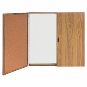 Ghent® Conference Oak Cabinet, Porcelain Magnetic Whiteboard w/Cork on Interior of Doors