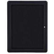 "Ghent® 1 Door Ovation Bulletin Board, Black Fabric/Black Frame, 24-1/8""W x 33-3/4""H"
