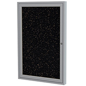 """Ghent® 1 Door Enclosed Recycled Rubber Bulletin Board, 24""""W x36""""H, Tan Speckled w/Silver Frame"""