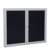 """Ghent® 2 Door Enclosed Recycled Rubber Bulletin Board, 60""""W x48""""H, Confetti w/Silver Frame"""