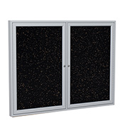 """Ghent® 2 Door Enclosed Recycled Rubber Bulletin Board, 60""""W x48""""H, Tan Speckled w/Silver Frame"""