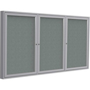"""Ghent® 3 Door Enclosed Fabric Bulletin Board, Gray Fabric/Silver Frame, 96""""W x 48""""H"""