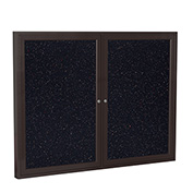 """Ghent® 2 Door Enclosed Recycled Rubber Bulletin Board, 60""""W x36""""H, Confetti w/Bronze Frame"""