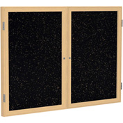 """Ghent® 2 Door Enclosed Recycled Rubber Bulletin Board, 60""""W x36""""H, Tan Speckled w/Oak Frame"""
