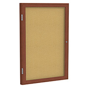 "Ghent® 1 Door Enclosed Bulletin Board, Cherry Frame, 30""W x 36""H"