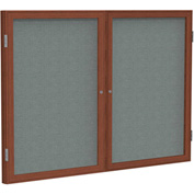 "Ghent® 2 Door Enclosed Fabric Bulletin Board, Gray Fabric/Cherry Frame, 60""W x 48""H"
