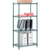 "Nexel® Green Epoxy Wire Shelving, 30""W X 18""D X 63""H"