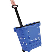 Plastic Roller Shopping Basket Blue - Pkg Qty 10