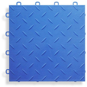 Block Tile B1US4527 Garage Flooring Interlocking Tiles, Diamond Pattern, Royal Blue