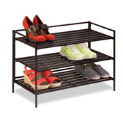"3-Tier Stackable Composite Shoe Rack 26-5/8""L x 12-1/8""W x 18-1/2""H, Espresso"