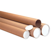 "Heavy-Duty Mailing Tube W/ Cap, 48""L x 3"" Dia. x 0.125 Wall Thickness, Kraft, Pack 24"