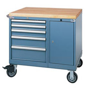 Lista® 7 Drawer Mobile Work Center with Butcher Block Top - Classic Blue