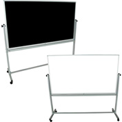 "Luxor® 72""W x 40""H Mobile Reversible Whiteboard/Chalkboard"