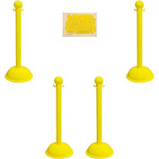 "Plastic Stanchion Kit - Yellow - 4pk 30' of 2"" HD Chain W/ C-Hooks Incl. - 3"" Pole, 16"" Base, 41""H"