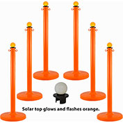 Plastic Stanchion with a Solar Light, Safety Orange, Sold in Pack of 6
