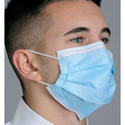 Defend® MK-1246 Breathe E-Z Dual Fit Ear-Loop Face Mask, Pleated, Blue, 50/Box
