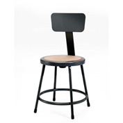 "NPS Heavy Duty Stool with Backrest - Round - Hardboard - 24""H - Black"