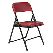 Premium Lightweight Plastic Folding Chair - Burgundy Seat/Black Frame - Pkg Qty 4