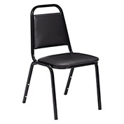 """Stacking Chair - 1-1/2"""" Vinyl Seat - Square Back - Black Seat with Black Frame - Pkg Qty 4"""