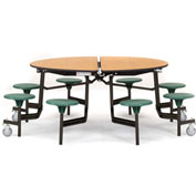 "NPS® 60"" Round Black Cafeteria Table with 8 Stools Cherry Particleboard Core Top/Purple Stools"