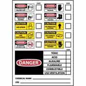 "NMC CI1P Chemical ID Labels, 5"" X 3"", White/Red/Black, PSV"