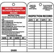 "NMC RPT26 Tags, Fire Extinguisher Recharge And Inspection Record, 6"" X 3"", White/Red/Black, 25/Pk"