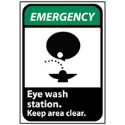 Emergency Sign 10x7 Vinyl - Eye Wash Station Keep Area Clear