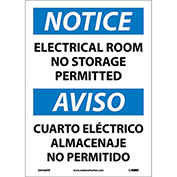 Bilingual Vinyl Sign - Notice Electrical Room No Storage Permitted
