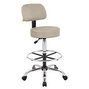 Boss Medical Stool with Backrest and Footring - Vinyl - Beige