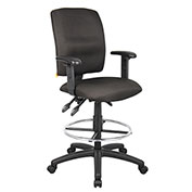 Boss Multifunction Drafting Stool with Adjustable Arms - Fabric - Black