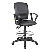 Boss Multifunction Drafting Stool with Fixed Arms - Leather - Black