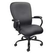 Boss Big and Tall Executive Chair with Arms - Vinyl - High Back - Black