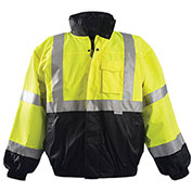 Premium Black Bottom Bomber Jacket, Hi-Vis Yellow, L