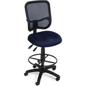 OFM Ergonomic Mesh Task Stool with Drafting Kit (Footstool) - Navy