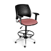 OFM Fabric Swivel Stool with Arms & Drafting Kit (Footstool) - Stars Pattern - Coral Pink