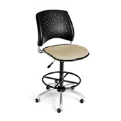 OFM Fabric Swivel Stool with Drafting Kit (Footstool) - Stars Pattern - Khaki
