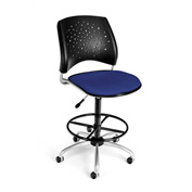 OFM Fabric Swivel Stool with Drafting Kit (Footstool) - Stars Pattern - Royal Blue