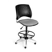OFM Fabric Swivel Stool with Drafting Kit (Footstool) - Stars Pattern - Putty